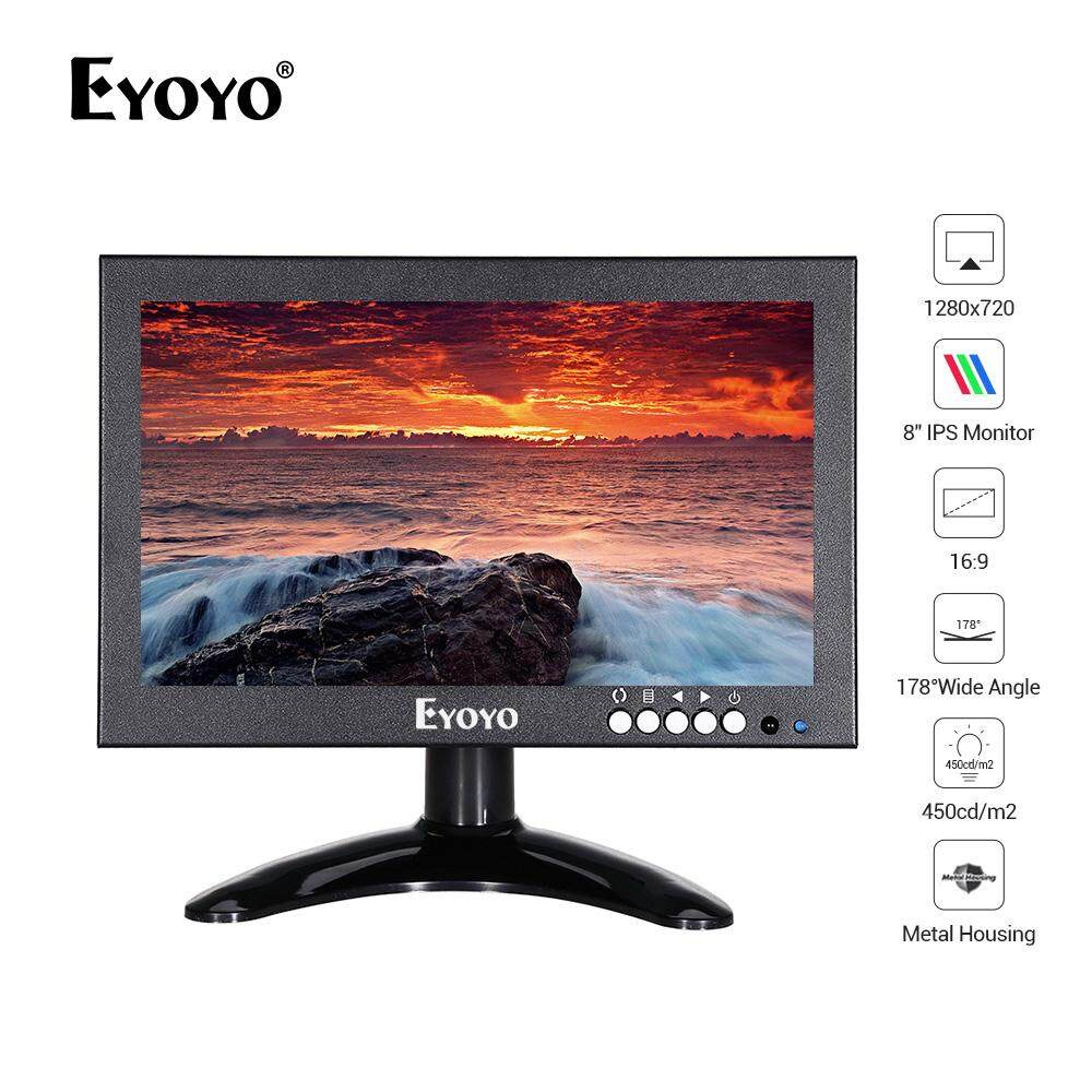 Eyoyo 8 inch  High-Resolution  Monitor Screen Support  HDMI/VGA/AV/BNC/SPEAK Input Built-in Speakers for PC TV CCTV Camera Security Raspberry pi Computer Drone Microscope Malaysia