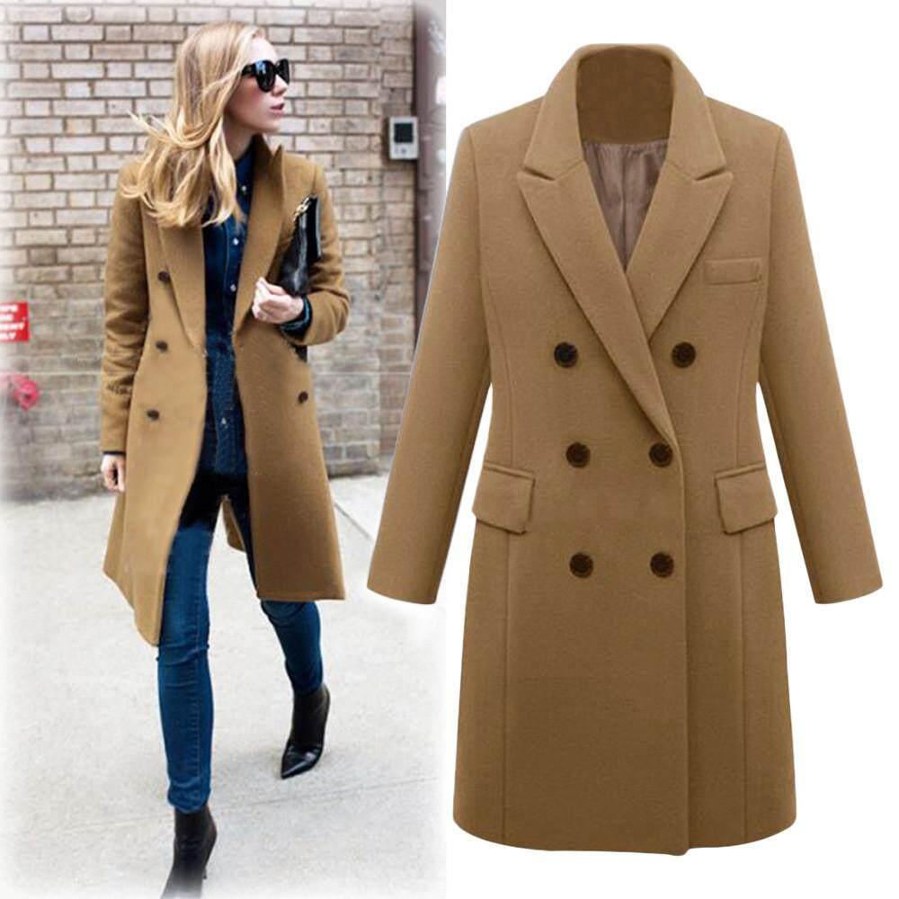 699f1b5caea8 Aiipstore Womens Winter Lapel Wool Coat Trench Jacket Long Parka Overcoat  Outwear
