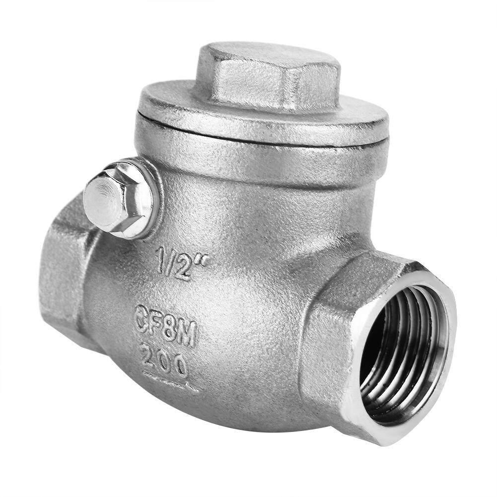 【Ele】1/2 DN15 Stainless Steel One Way Swing Check Valve Female Thread WOG 200PSI(Silver)