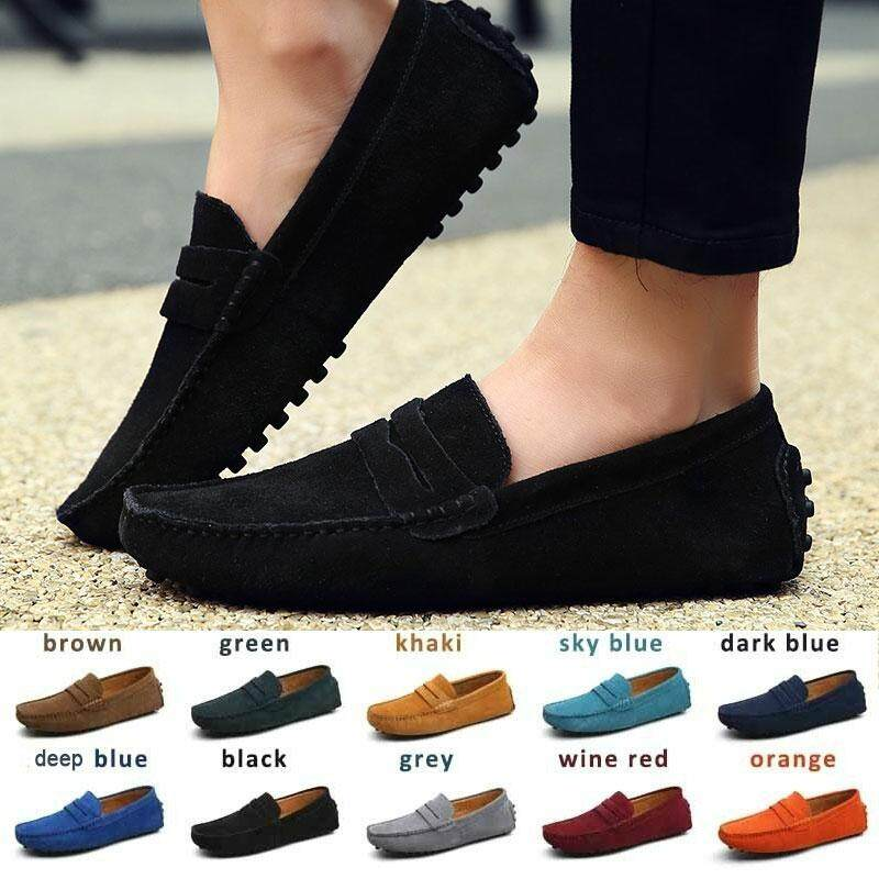 ce387a71cac80 ZOWIE Men's Loafers Casual Suede Leather Outdoor Boat Shoes Driving Moccasins  Slip-On Loafers For