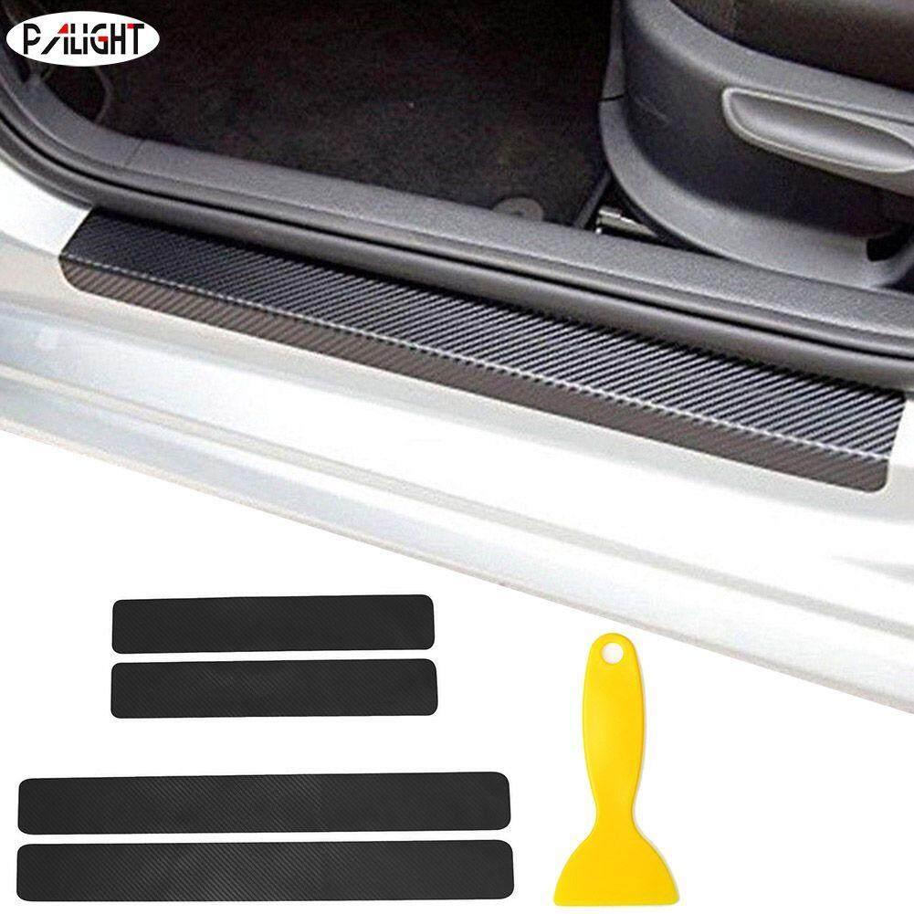 Palight 4pcs car door sticker carbon fiber still scuff pedal protector sticker panel entry guard with