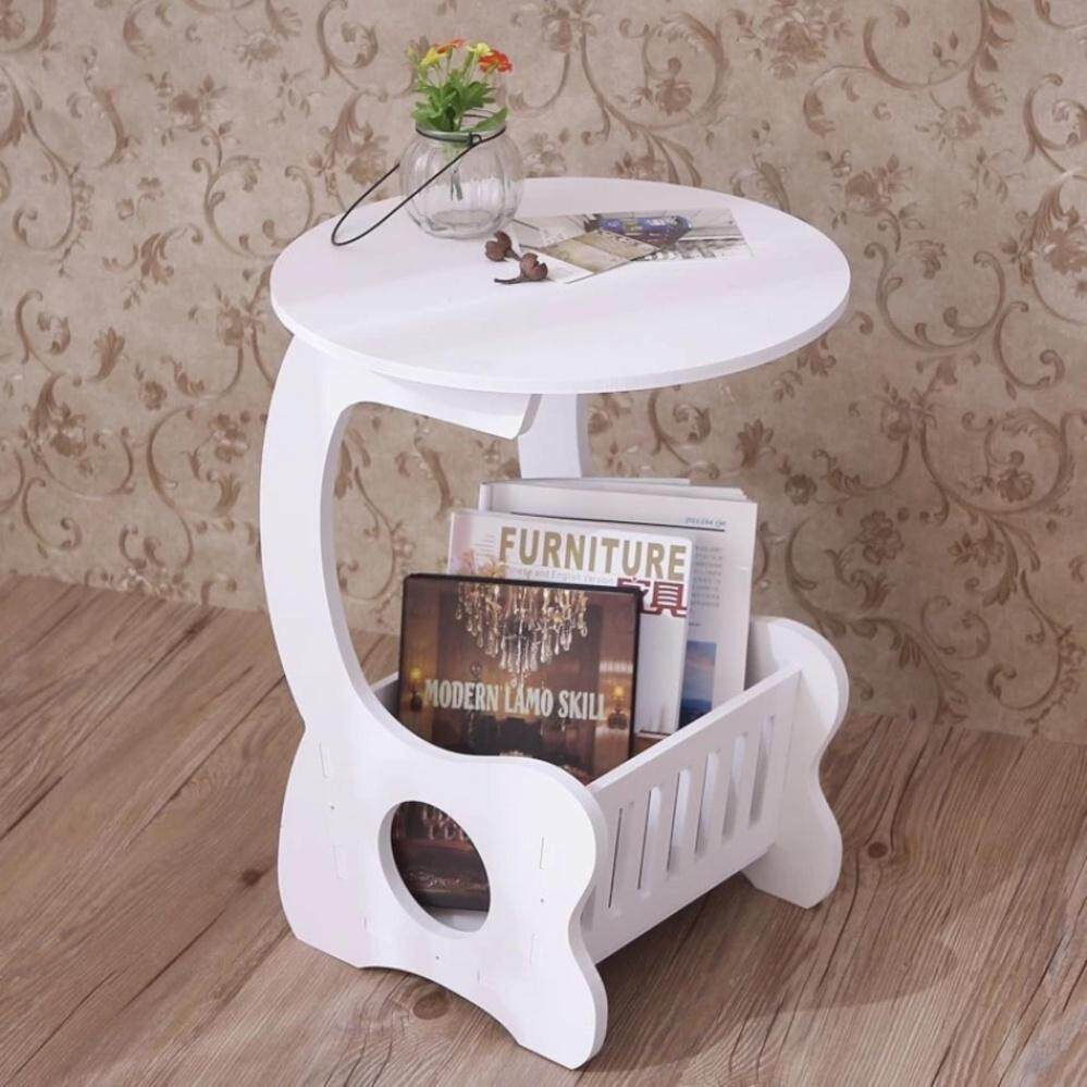 Round End Side Table White