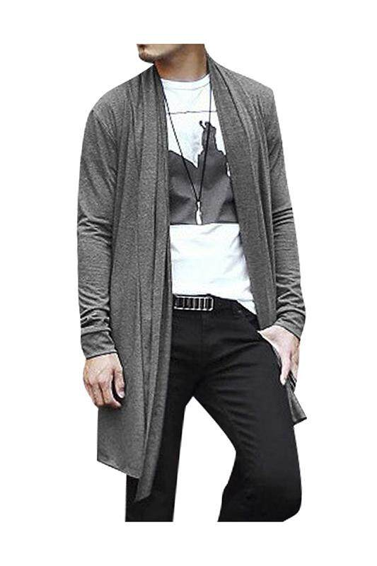 Men Shawl Collar High-Low Hem Long Cardigan Gray S By Shakeshake.