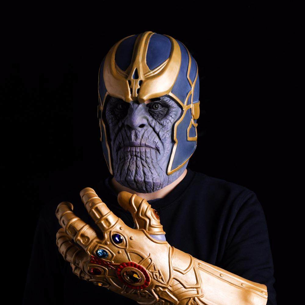 Buy Avengers Infinity War Thanos Mask Infinity Gauntlet Cosplay Gloves Latex Helmet Superhero Avengers Thanos Masks Halloween Props(Do Not Contain Gloves) Online China