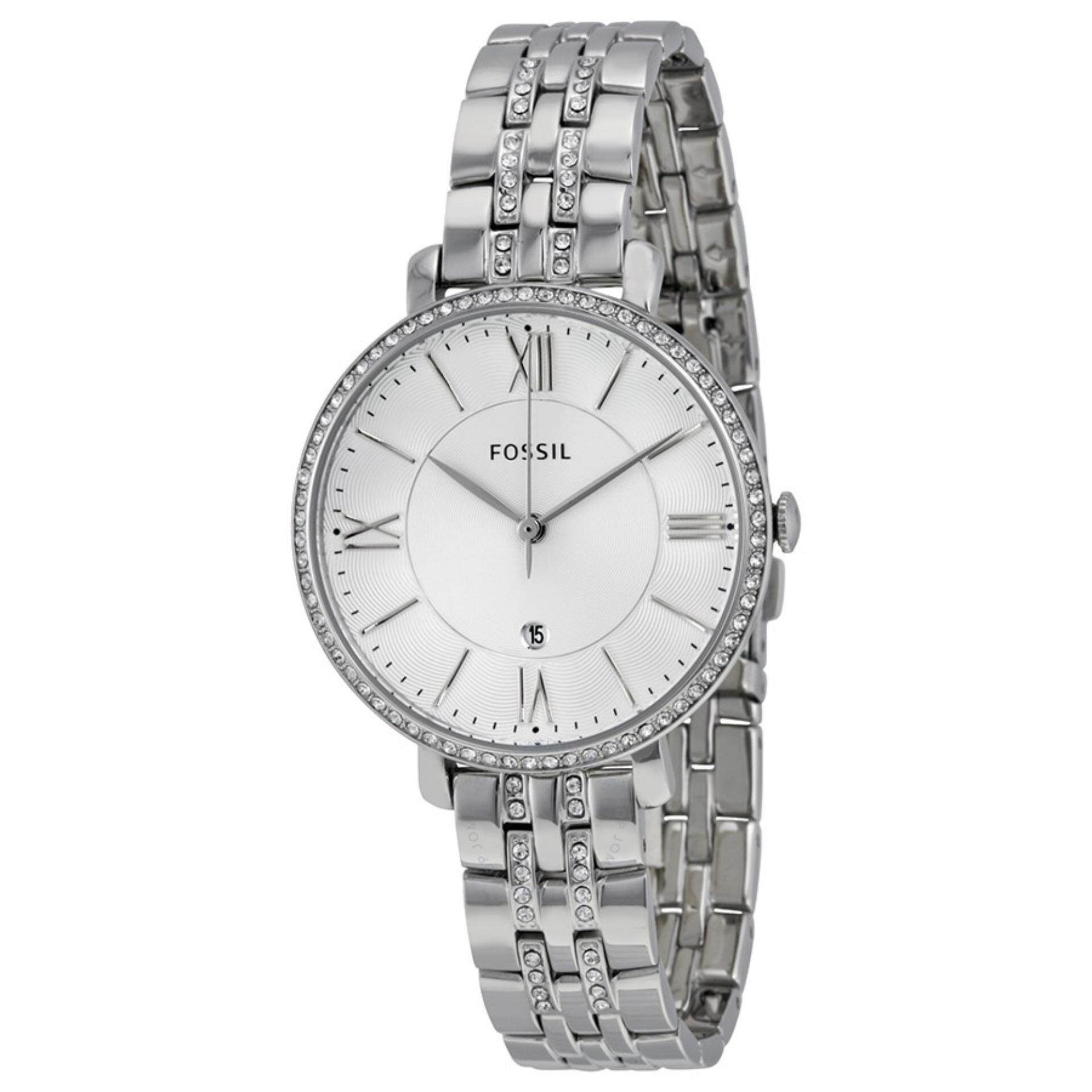 Fossil Watches Price In Malaysia Best Lazada Jam Tangan Neutra Chronograph Stainless Steel Fs5384 Womens Jacqueline Silver Dial Crystal Bezel Watch Es3545