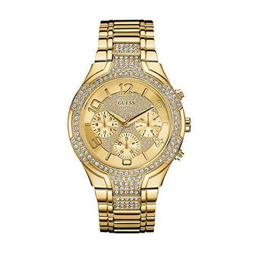 [GUESS] GUESS Women's Stainless Steel Crystal Accented Bracelet Watch, Color: Gold-