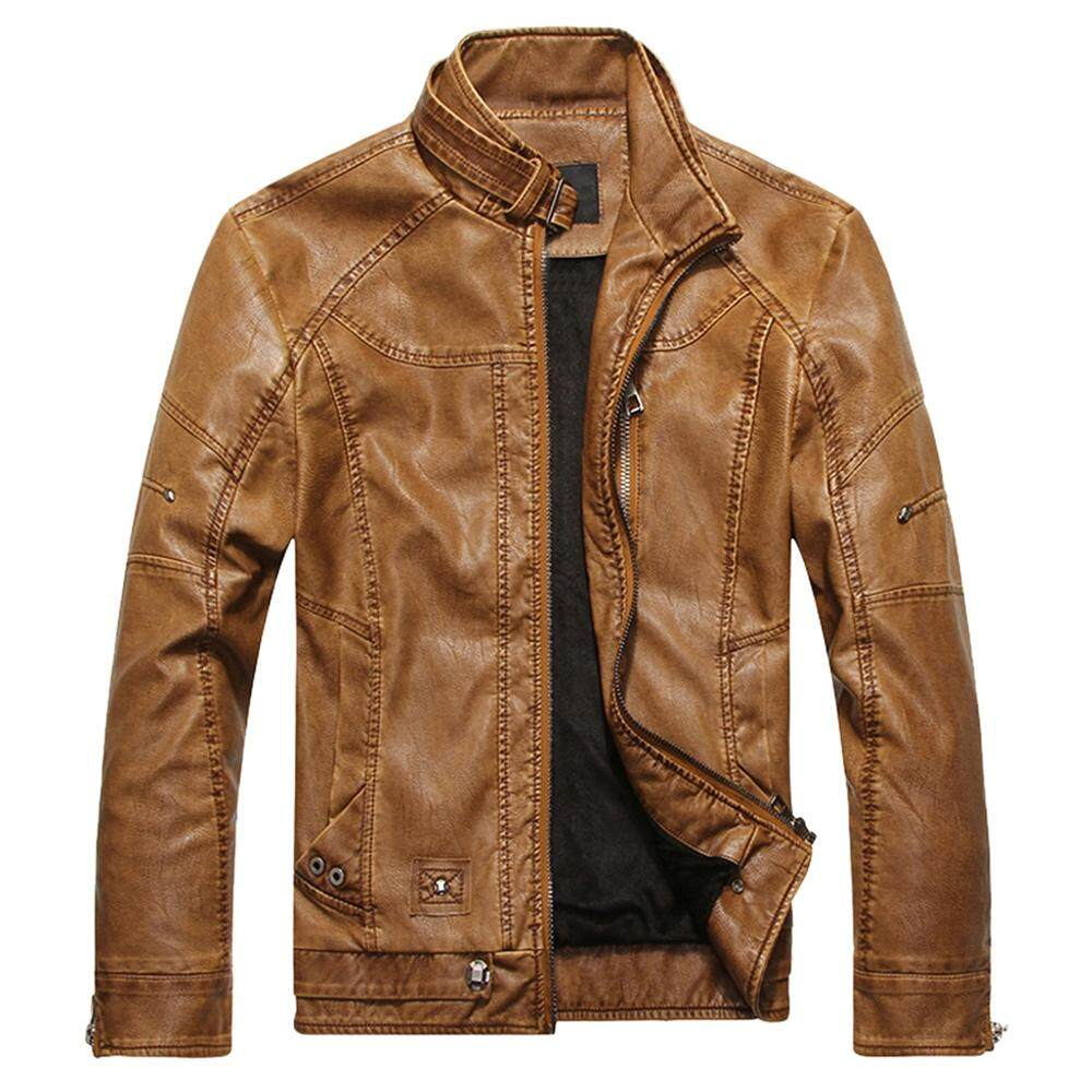 Mens Leather Jackets For The Best Prices In Malaysia Jaket Kulit Pria Kasual Fpg Hitam Stand Collar Fleece Pu Zip Up Jacket Brown