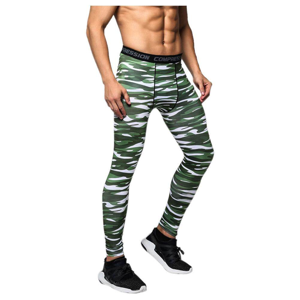 70d962c18eb8 Men Compression Long Pants Running Base Layers Skins Tights Army Camouflage  Soccer Joggers Trousers(Stripes