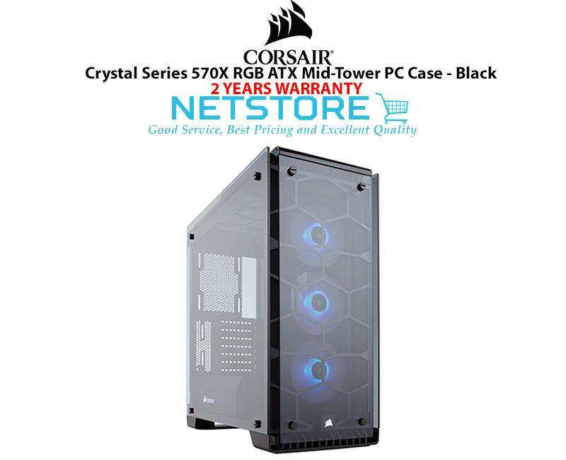 Corsair Crystal Series 570X RGB TG Steel ATX Mid Tower PC Gaming Dekstop Case Black CC-9011098-WW Malaysia