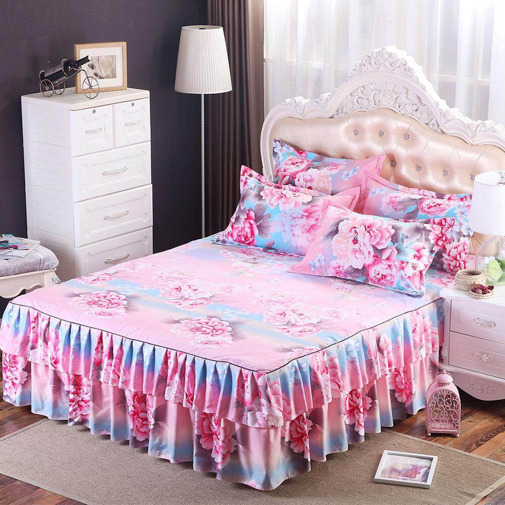 Coromose Floral Fitted Sheet Cover Graceful Bedspread Laced Fitted Sheet Bed Cover Skirt Wedding Housewarming Gift? Style:thousands Love Dimensions:1.5x2 M Bed Skirt Single By Coromose.