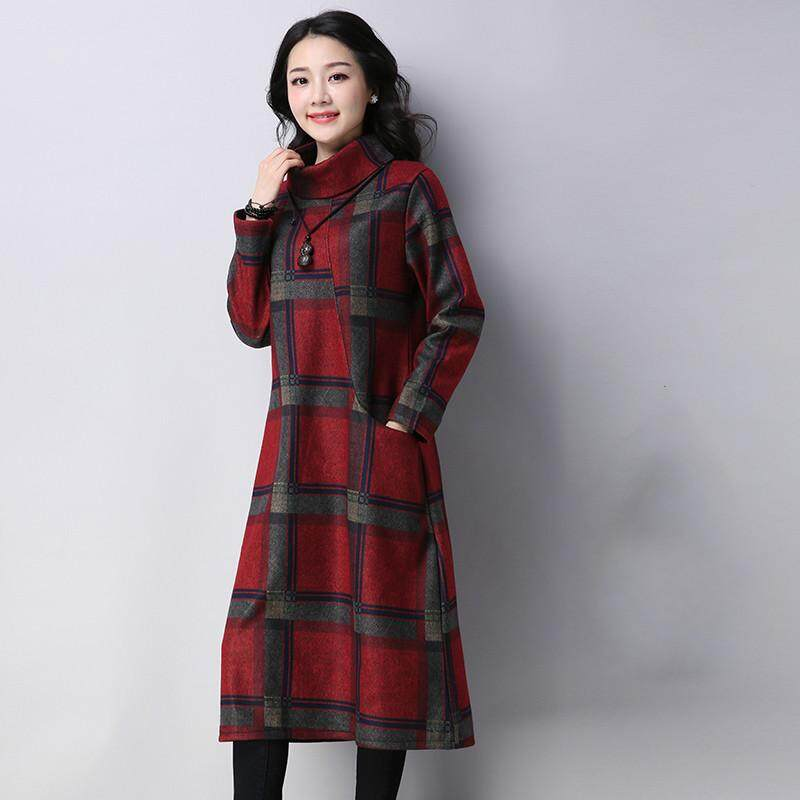 b06c34231f Autumn Winter Women's Long Skirts Retro Art Plus Size Loose Printed Velvet  Thickening Bottoming Dresses