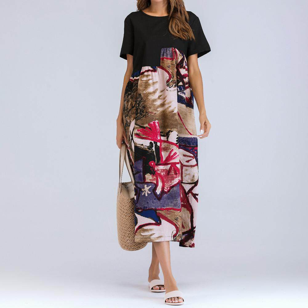 a8f6a10c5f72 Women Short Sleeve Ruched Casual Thin Floral Cotton Loose Bohe Long Dress  Kaftan