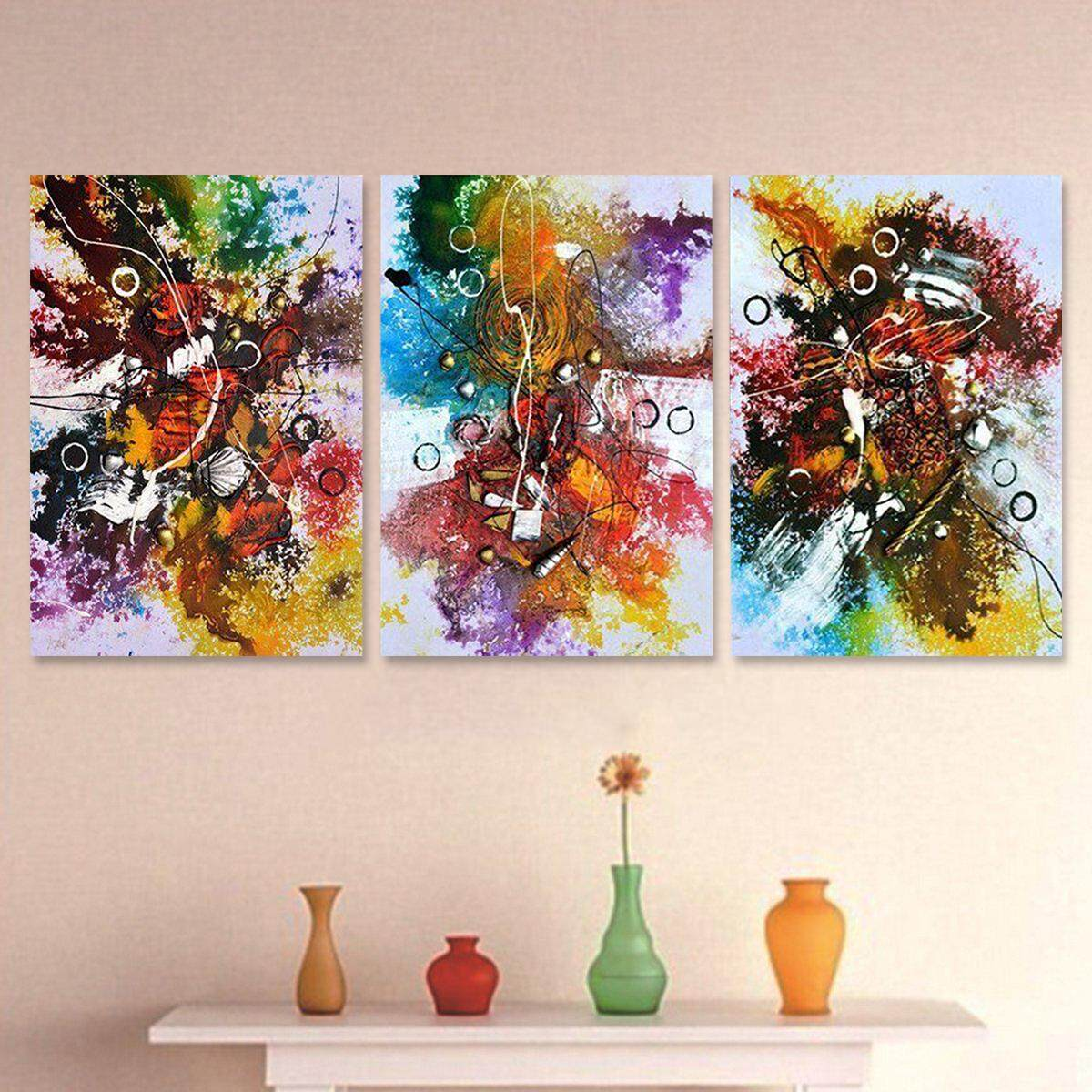 3Pcs Abstract Colorful Tree Canvas Print Art Painting Picture Home Decor