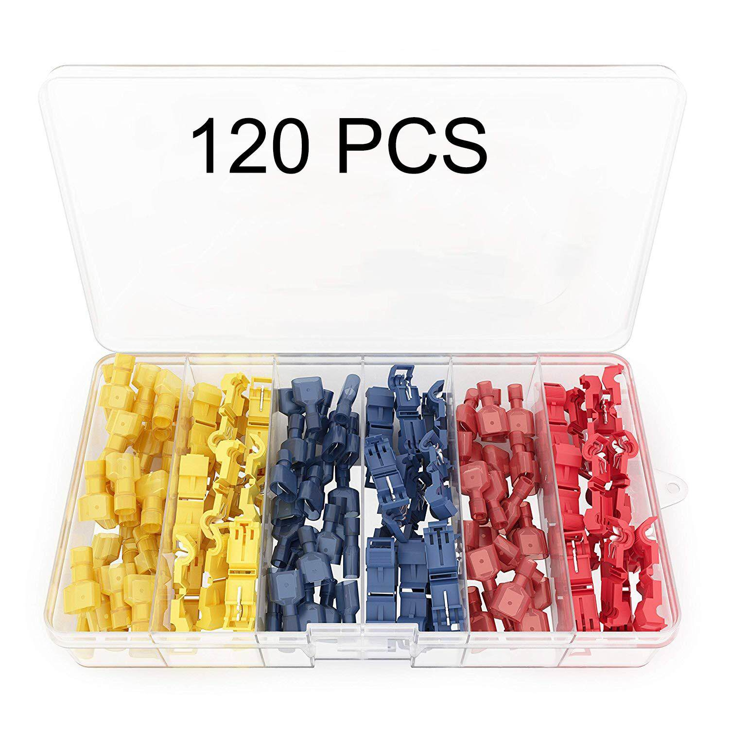 ✅【120PCS】T Tap Electrical Connectors – Quick Wire Splice Taps and Insulated Male Quick Disconnect Terminals - By Convinent Store