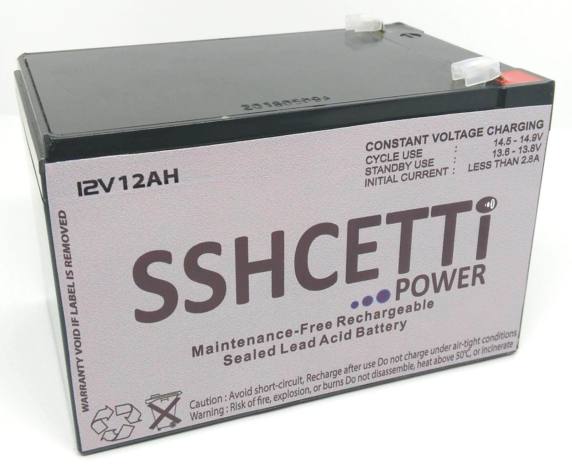 SSHCETTI 12V 12AH PREMIUM Rechargeable Sealed Lead Acid Battery For Electric Scooter/ Toys car / Bike /Solar /Alarm /Autogate Malaysia