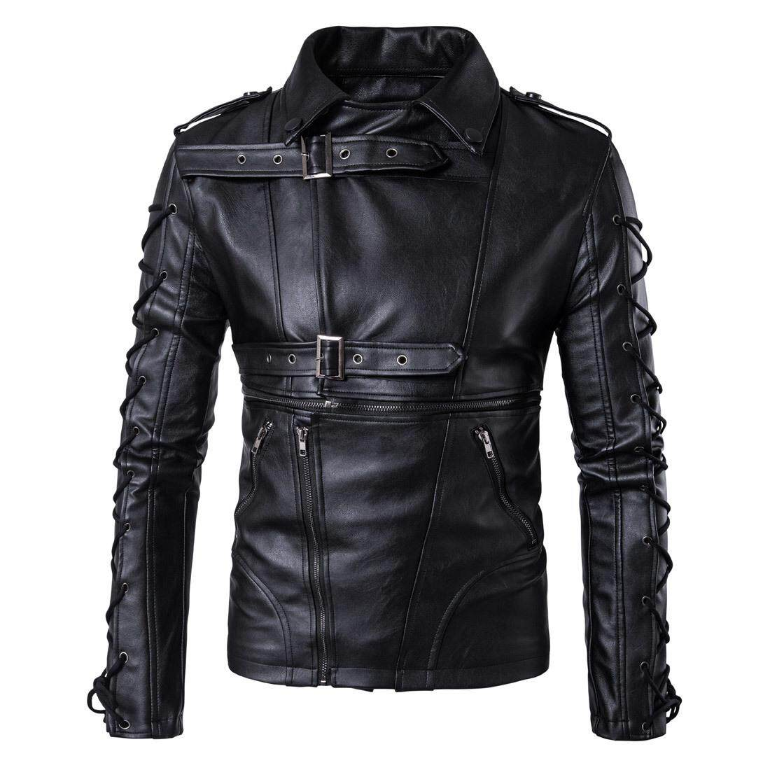 f75511bc741 Men s Autumn Winter New Euro Code Motorcycle Leather Decadent Leather Coat  Pure Color Large Size Drawstring