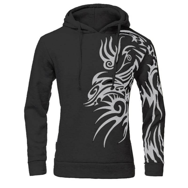 d41f2227777 Mens Fashion Hooded Tattoo Dragon Printed Pullover Sweatshirts Fleece  Casual Coat Dark Gray M