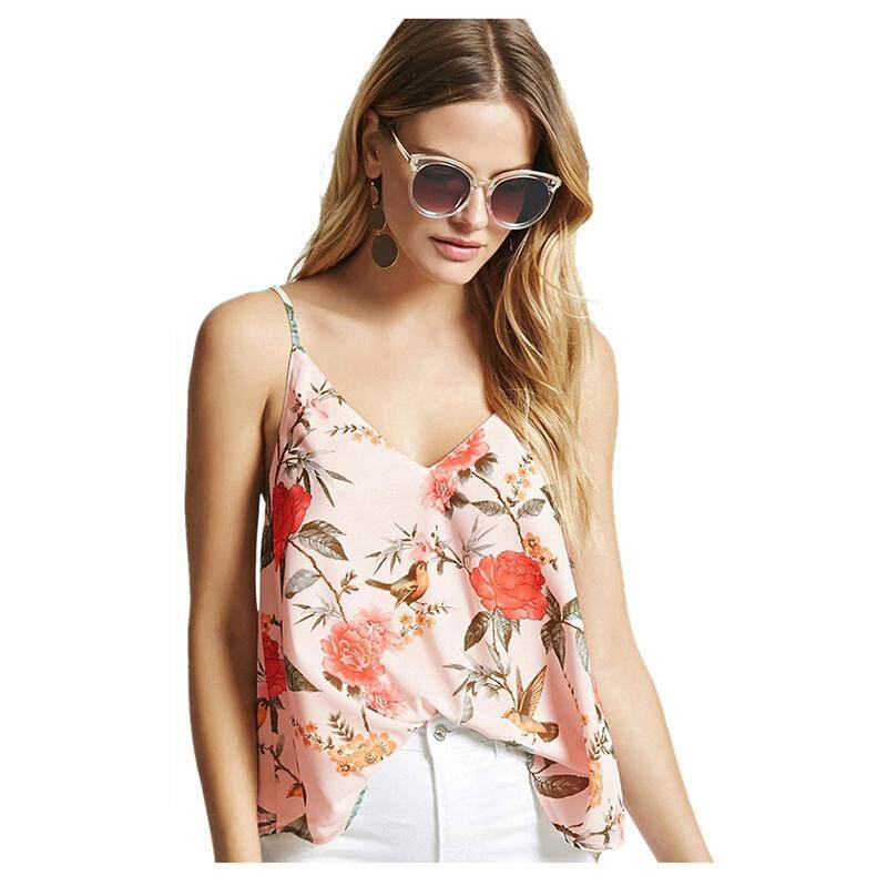 3baa52a3c5c Women s Sexy V-neck Backless Tank Tops Summer Spaghetti Strap Sleeveless  Shirts Flower Print Casual