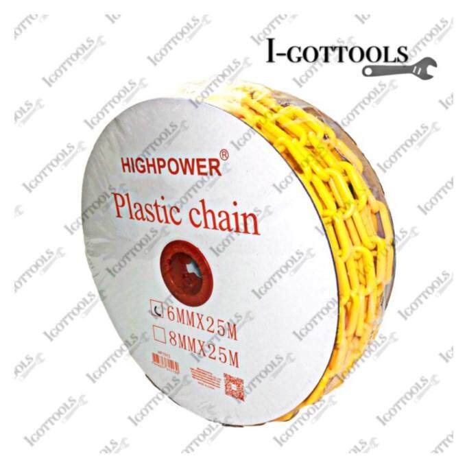 25Meter High Quality PLASTIC CHAIN YELLOW 6MM*25M PVC Plastic Safety Colour Chain