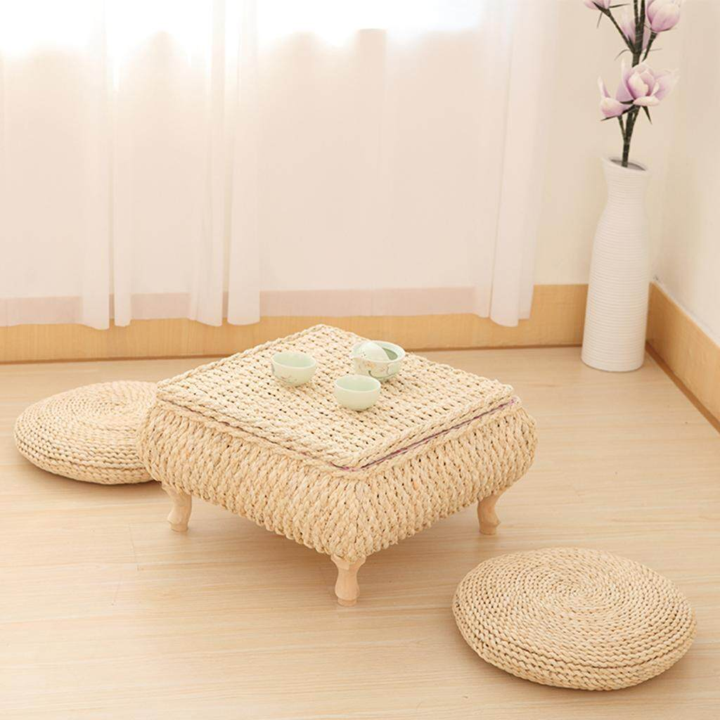 Dolity 2x Round Natural Straw Chair Seat Pad Mat Yoga Meditation Cushion Seated Pad