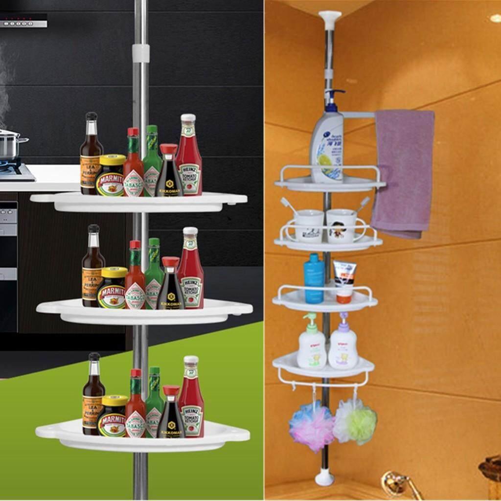 Adjustable 4 Tier Multipurpose Toilet Bathroom Kitchen Corner Shelf Storage Organizer Rack By Fly Automart.