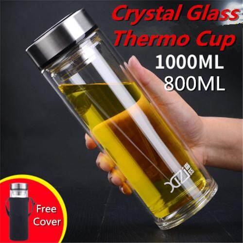 Crystal Glass Cup Double Layer Drinking Bottle Tea Mug Cup Thermal Thumbler By Cycling Gadgets..