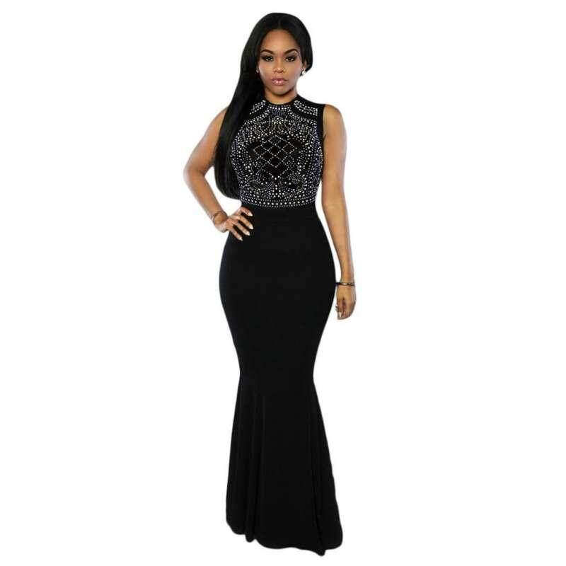 Women Elegant Slim Maxi Dress Sleeveless Party Mermaid Long Dress (black) By G-Gourd Lighting Store.