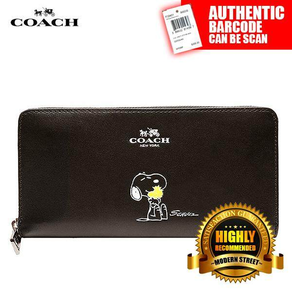 0ecfab3158126f Coach X F53773  NWT  Peanuts Snoopy Accordion Zip Black Calfskin Wallet -  SV