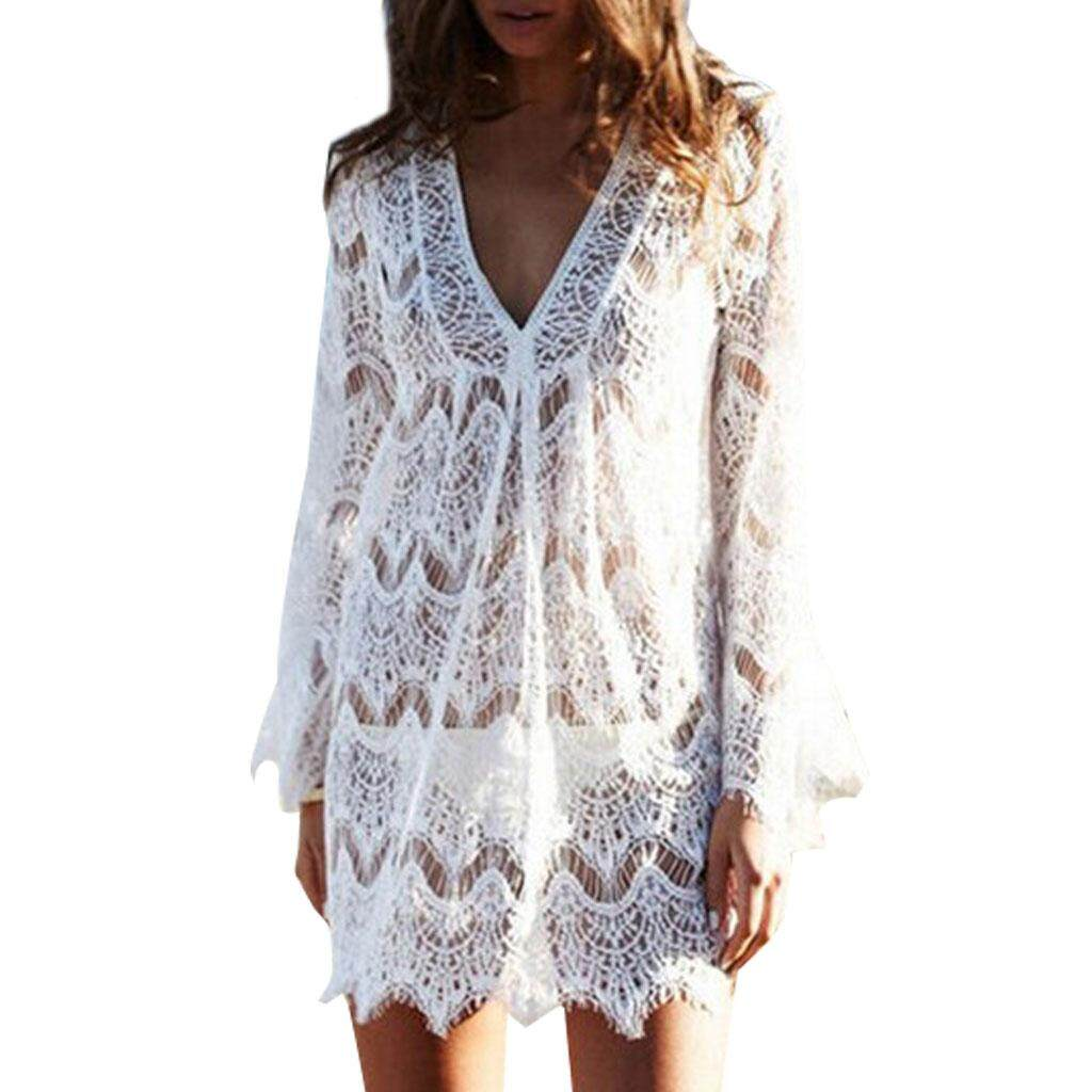861cef6ffc794 Women V-Neck Hollow Out Swimwear Swimsuit Cover Ups Loose Knitted Beach  Dresses