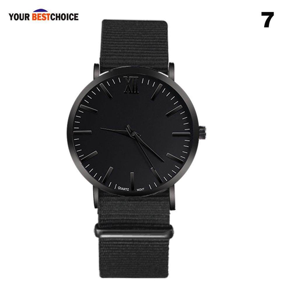 YBC Men Quartz Wrist Watch with PU Leather Canvas Strap Large Dial Roman Scale Casual Watches Malaysia