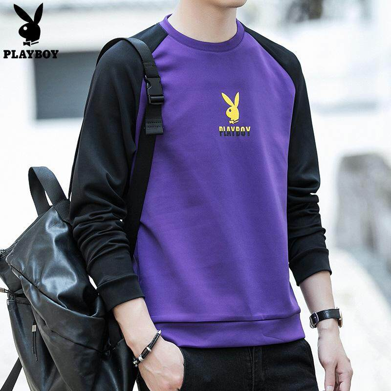 e89e0577a Play Boy 2018 Fashion Men's Long-sleeved Casual T-shirt Slim Slimming