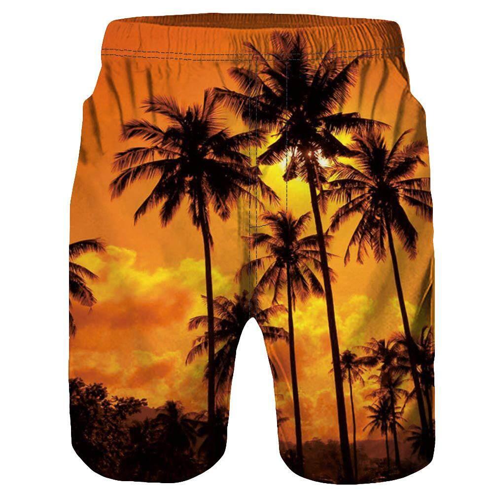Rainny Men Casual 3D Tree Printed Beach Work Casual Men Short Trouser Shorts Pants