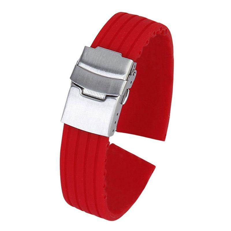 Waterproof Silicone Rubber Watch Strap with Deployant Buckle 24mm - Red Malaysia