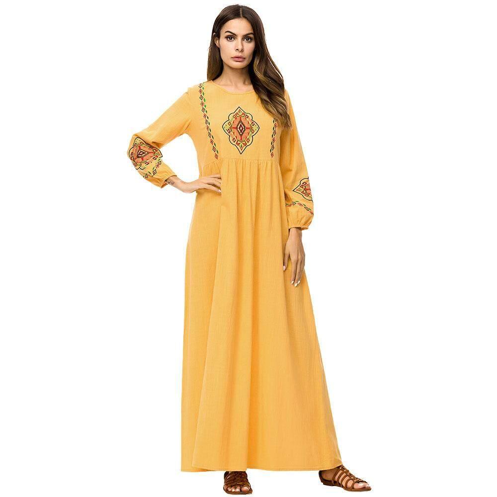 2615a4193ebd JANUAR Women Muslim Long Sleeve Maxi Dress Jubah Embroidery Baju Abaya  Arafah Muslimah Kaftan ZZL7242