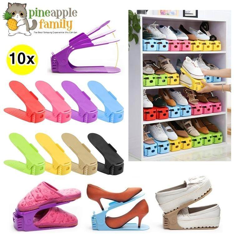 10pcs Creative High Heel Shoes Organizer Adjustable Shoes Racks Space-Saving  Plastic Storage Rack( 95dd47e2979f