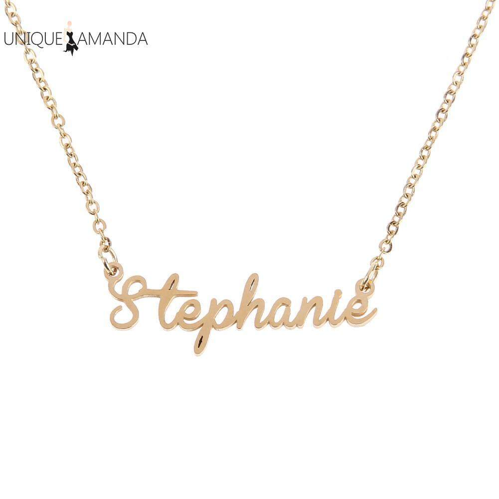 7396fe99df Unisex Nameplate Pendant Chain Customized Handwriting Signature Necklace