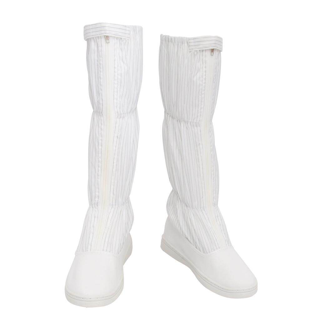 Miracle Shining ESD High Top Boots Nonslip Anti-static Clean Room Working Shoes 250mm White