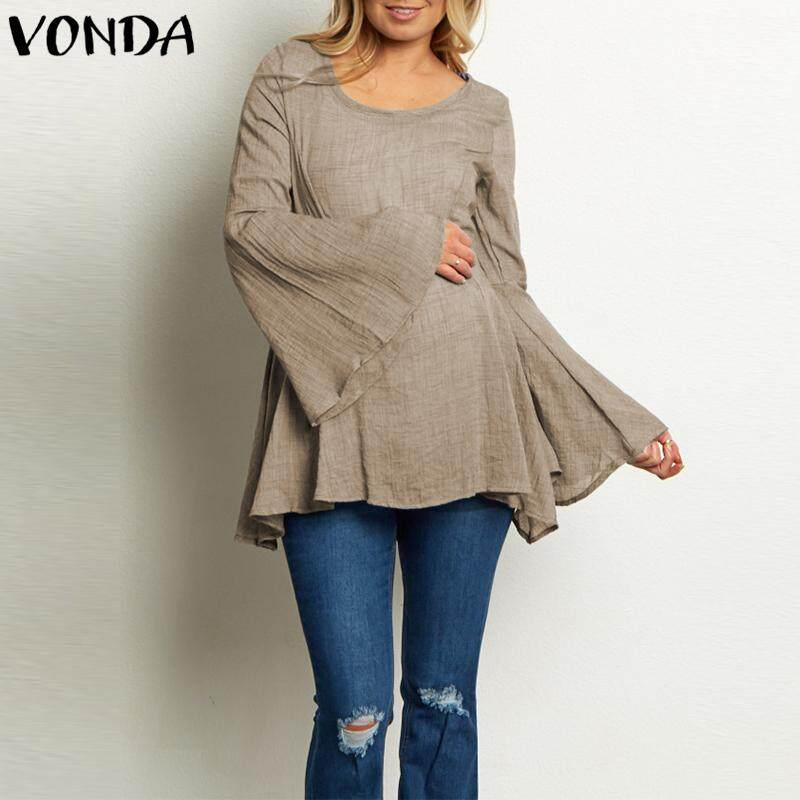 Vonda Maternity Women Long Batwing Sleevess Round Neck Top Shirt By Vonda Official Store.