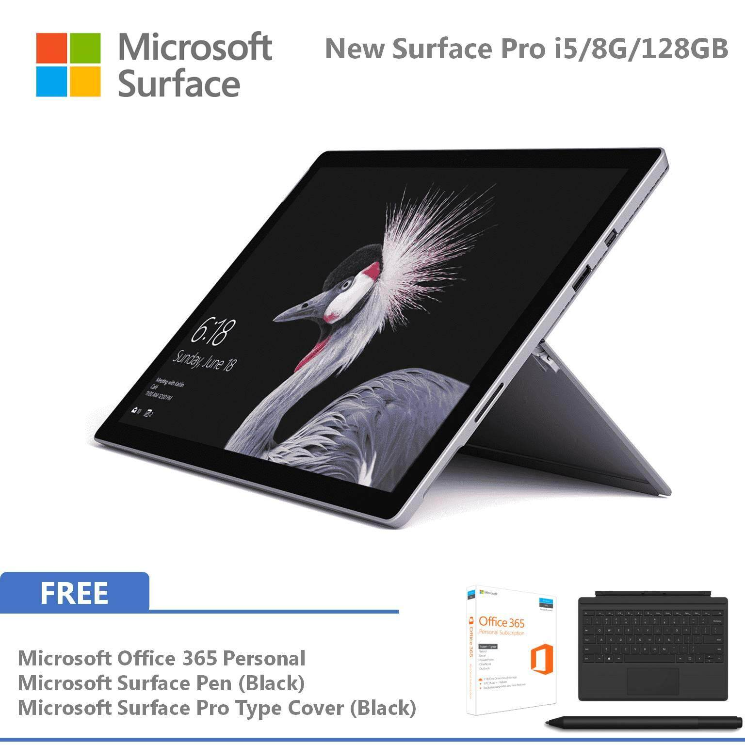Microsoft New Surface Pro - 128GB / Intel Core i5 - 8GB RAM FOC Signature Type Cover + Pen + Office 365 Personal Malaysia