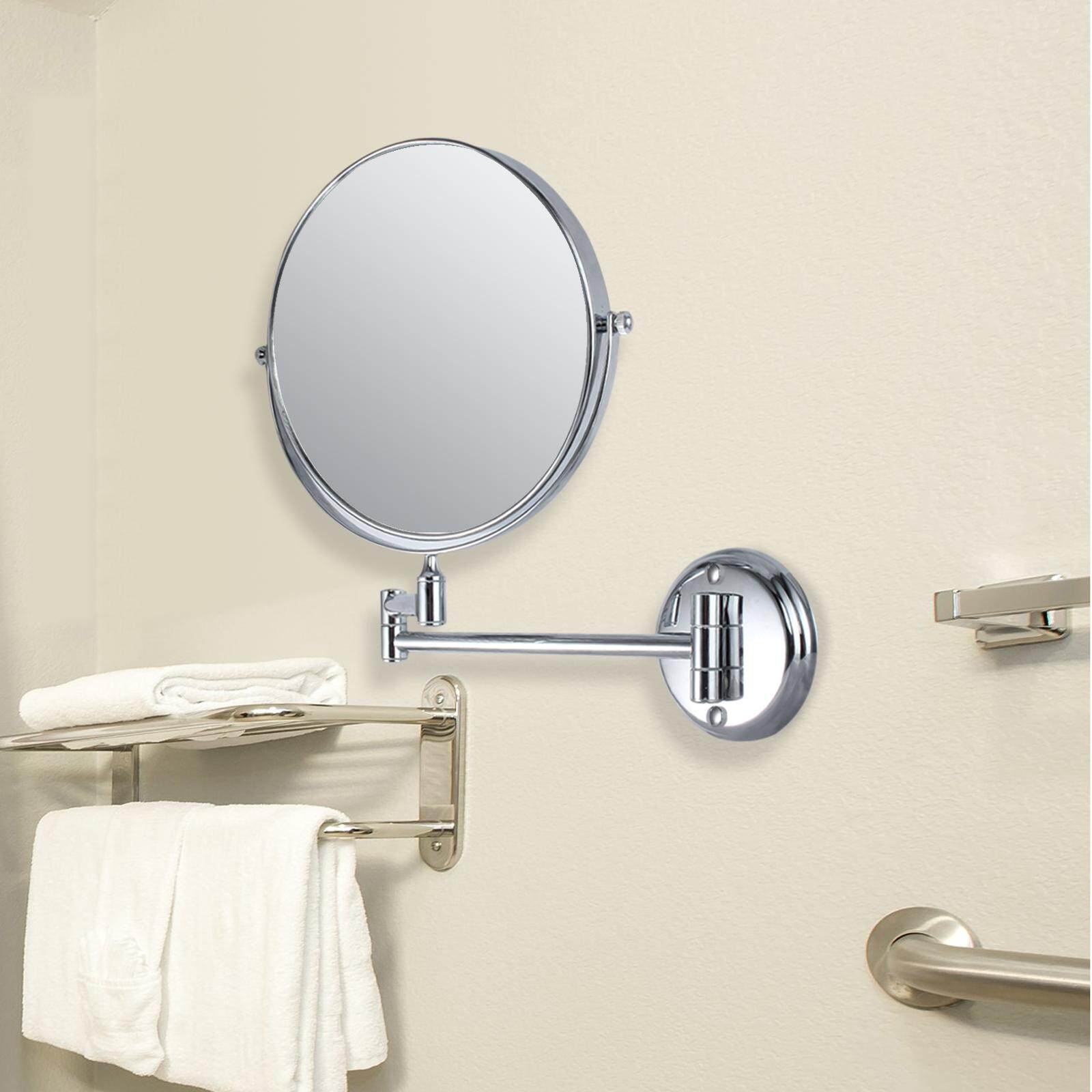 10X 8'' Magnification Two-Sided Swivel Wall Mount Mirror Polished Chrome Bathroom Mirrors