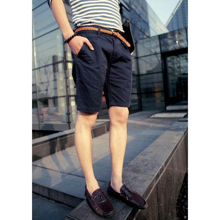 3aae59e4fde England Style Casual Shorts Men Cool Summer Knee Length Solid Slim Fashion  Short Pants Nary Blue