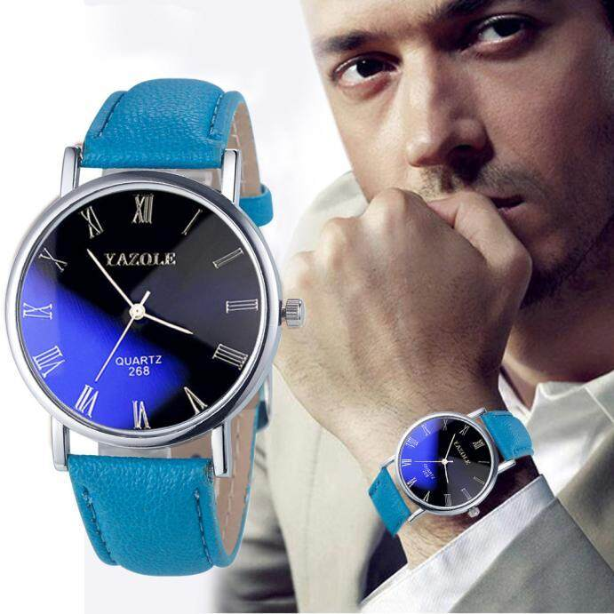 Luxury Fashion Faux Leather Mens Quartz Analog Watch Watches Blue radocie Malaysia