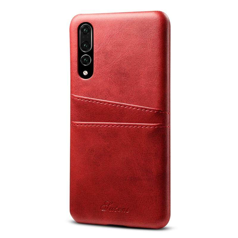 Moonmini Case for Huawei P20 Pro Back Case Calf Grain PU Leather TPU Phone Case with