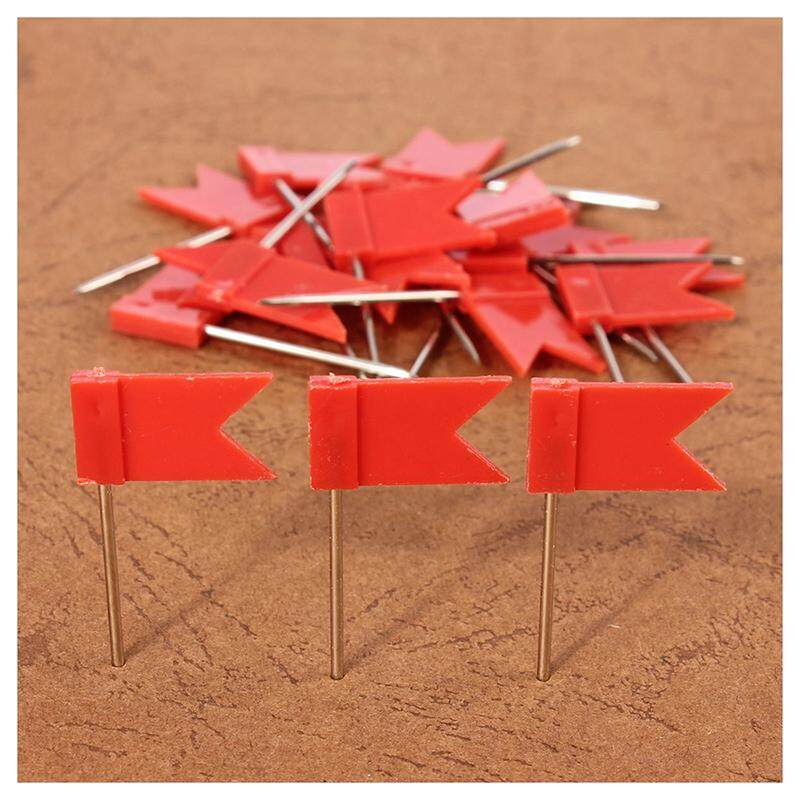 100 Flag Shape Map Pins Cork Notice Board Drawing Pins Push Pin Red