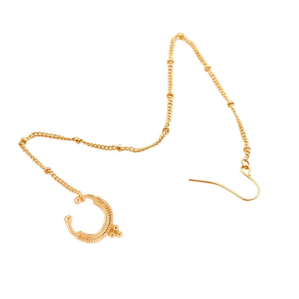 BOOM-Fashion Nose To Ear Hanging Chain Nose Ring Pierced Earring Personalized Malaysia