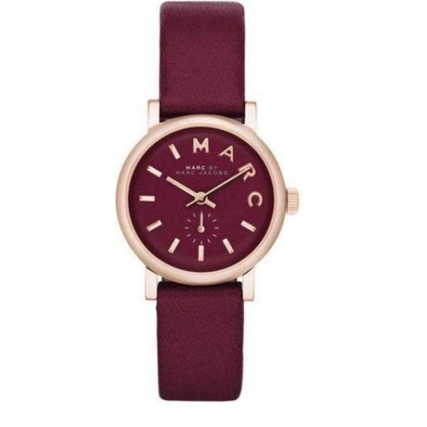 Marc Jacobs Womens Mini Baker Rose tone Maroon Dial Leather Watch MBM1271 Malaysia