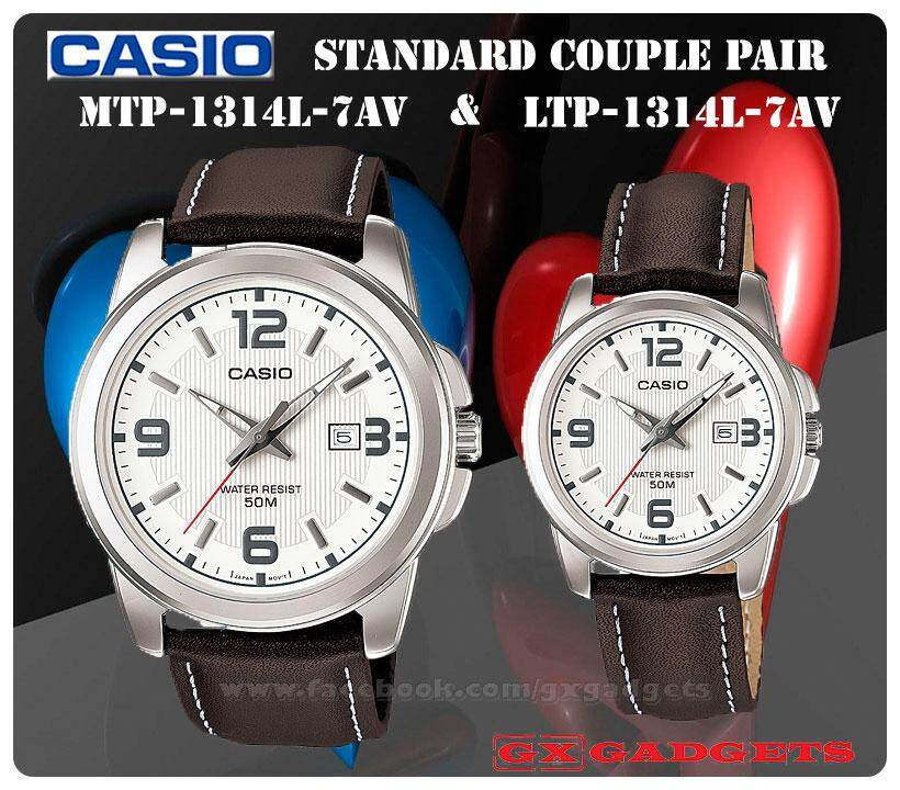 CASIO MTP-1314L-7AV + LTP-1314L-7AV STANDARD Analog Couple Pair Watch Date Genuine Leather Band WR50m MTP-1314 LTP-1314 1314 Series Malaysia