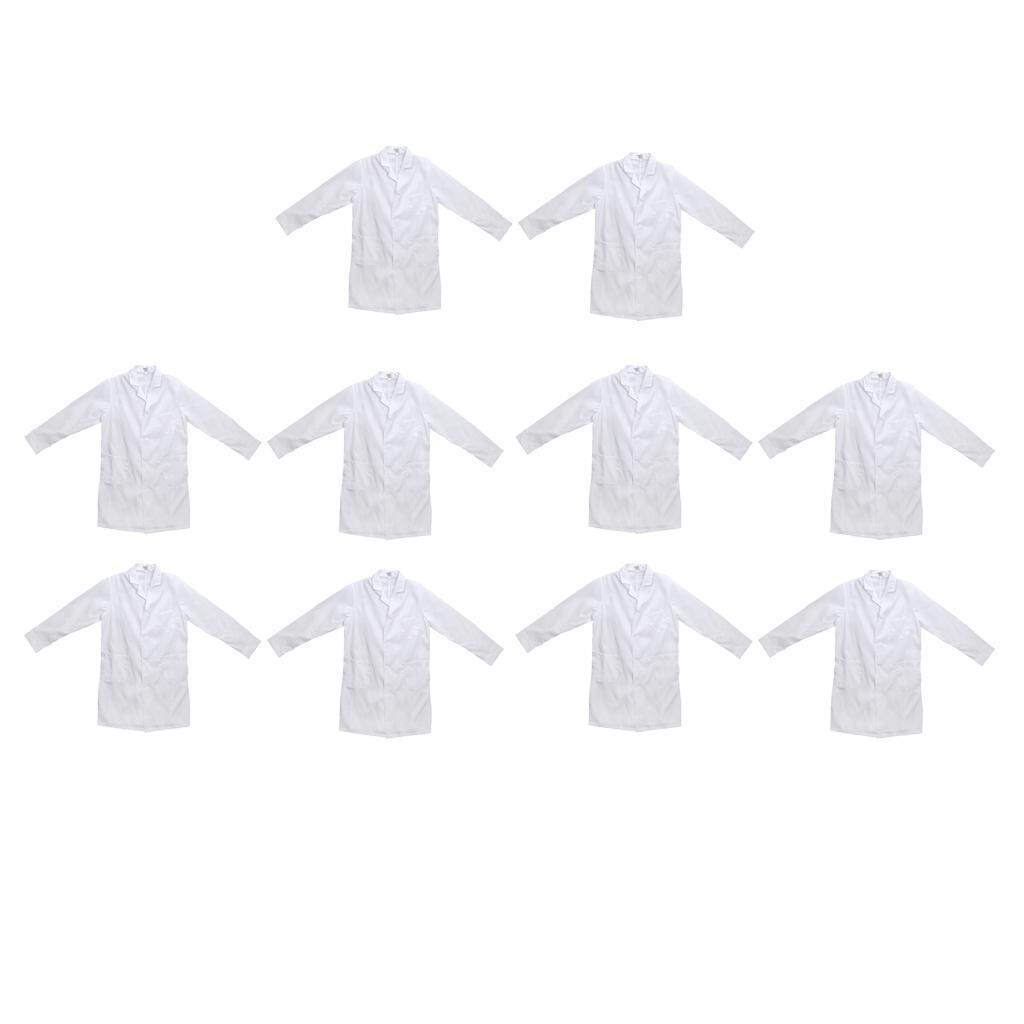MagiDeal Set of 10 Pieces Comfy Mens Long Sleeve White Scrubs Lab Coat Hospital Doctor Uniforms Work Clothing L