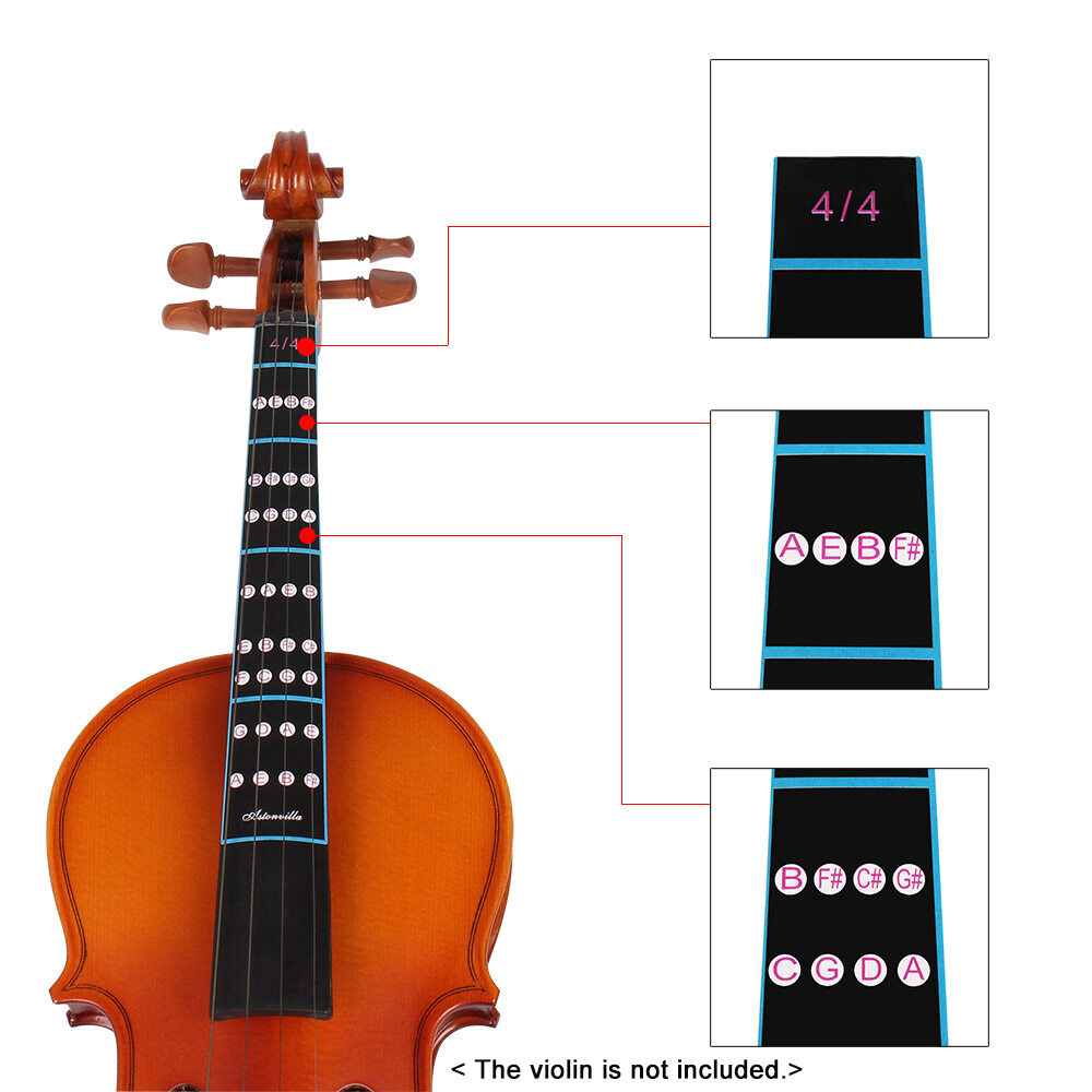 Sports & Entertainment Violin Finger Guide Fingerboard Sticker Label Fret Finger Chart For Beginner As Picture Casual Violin Parts & Accessories