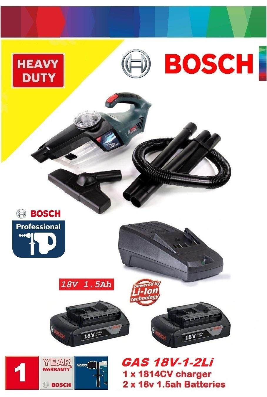 Bosch GAS 18V-1-2Li Cordless Dust Extractor Cleaner Set, Cordless Vacuum Cleaner